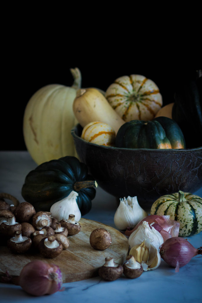Acorn Squash Stuffed with Wild Rice and Mushroom Pilaf by Kristen McSorley, Bozeman MT photographer