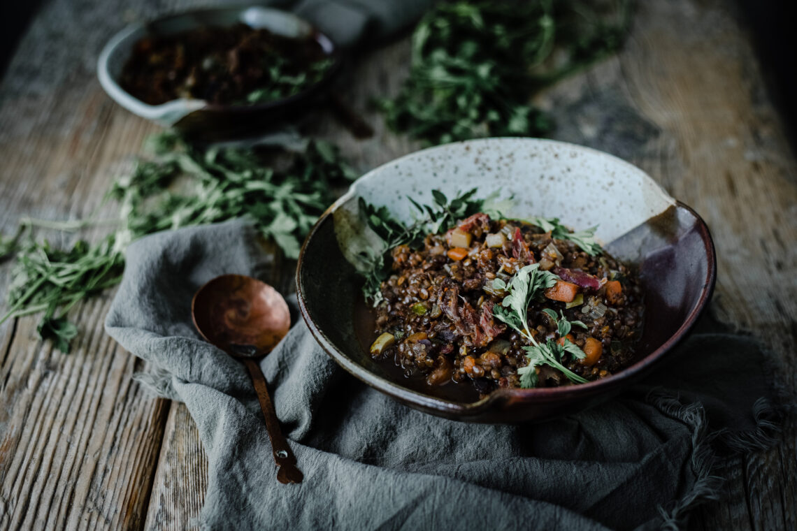 Lentil Stew with Smoked Pork Hock from Boiled Wheat Blog by Kristen McSorley