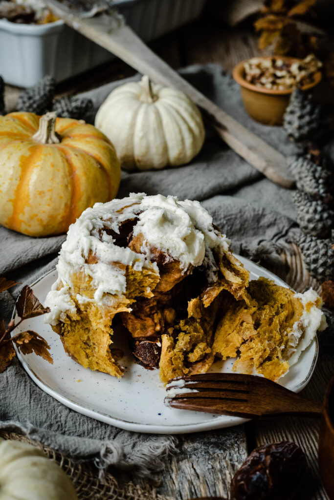Pumpkin Cinnamon Buns with Date and Walnut Filling from Boiled Wheat Blog by Kristen McSorley, Montana Food Photographer